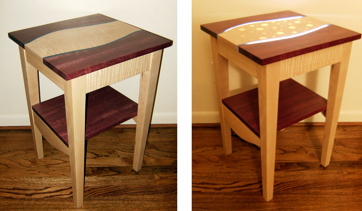 Purple Heart And Maple Light Up Side Table