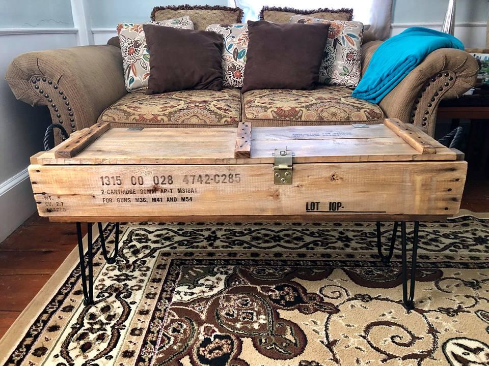 Ammunition Box Repurposed into Rustic Coffee Table