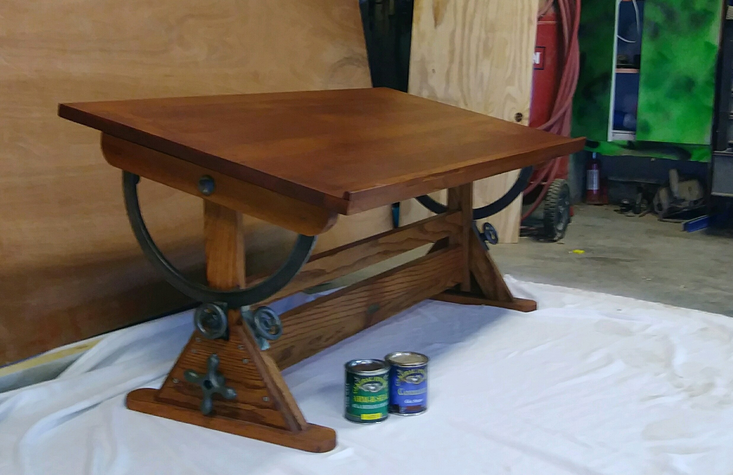 Antique Drafting Table Into Functional Drafting Coffee
