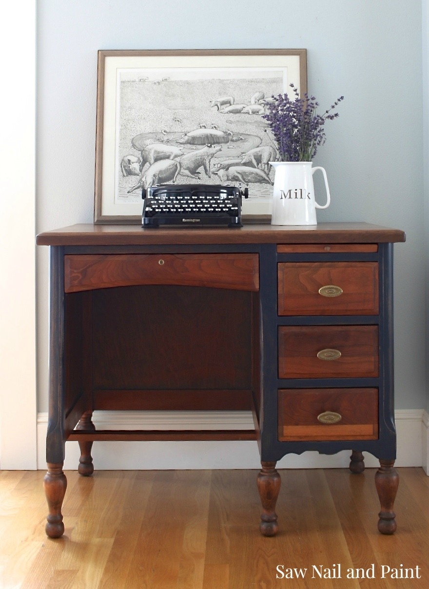 Products Used - Coastal Blue And Antique Walnut Teacher's Desk General Finishes